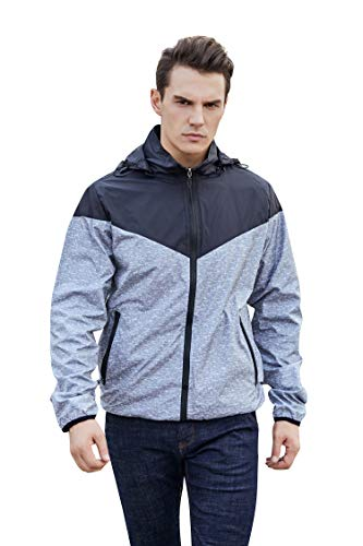 (Max and Lucas Men's Lightweight Windbreaker Reversible Dual Side Use with Detachable Hood (L, Grey Black))