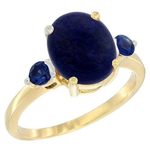 14K Yellow Gold Natural Lapis Ring Oval 10x8mm Blue Sapphire Accent, size 5.5 14k Yellow Gold Lapis Ring