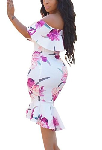 Floral Maxi Cutaway Ruffled Picture Gowns Dress As Women Collar Coolred WqZYvOxx