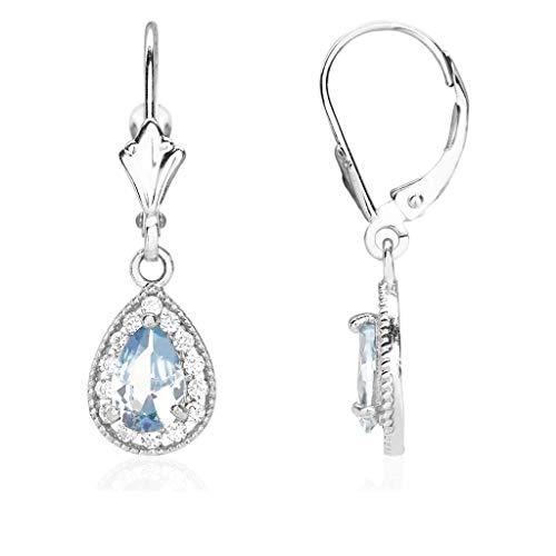 14K White Gold CZ Birthstone Milgrain Halo Teardrop Dangle Leverback Earrings, Aquamarine ()