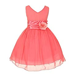 Chiffon Double V Neck Wedding Flower Girl Dress, Made in USA (10, coral)