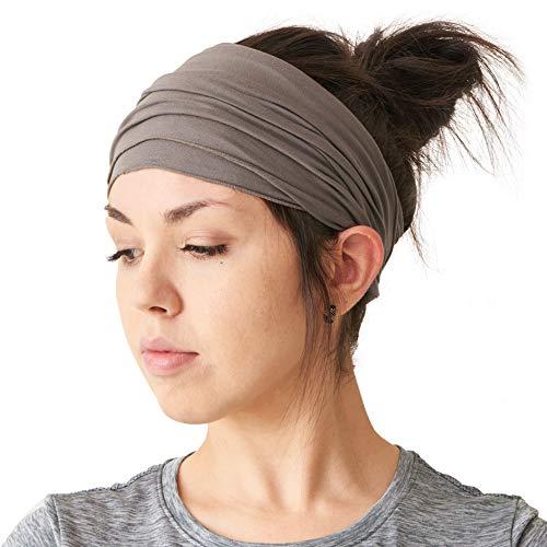 Casualbox Mens Womens Elastic Bandana Headband Japanese Long Hair Dreads Head wrap Charcoal Gray,Free Size ()