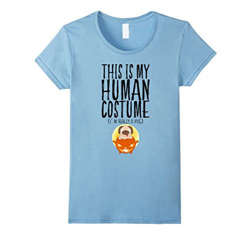 Womens My Human Costume I'm Really A Pug Halloween Puppy Boys Kids XL Baby Blue