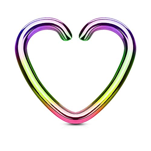 (Heart Shaped Ring Cartilage Tragus Daith Piercing Earring (16 Gauge) (Rainbow))
