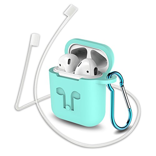 Airpods Case, GULAKI Protective Airpods Silicone Cover and Skin Airpods Accessories with Anti-Lost Strap and Keychain for Apple Airpods Charging Case