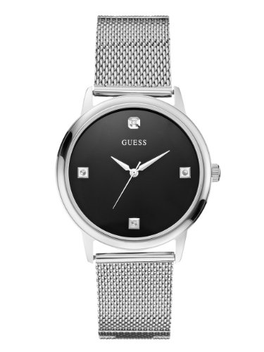 GUESS-Mens-U0280G1-Slim-Round-Silver-Tone-Diamond-Accented-Mesh-Watch