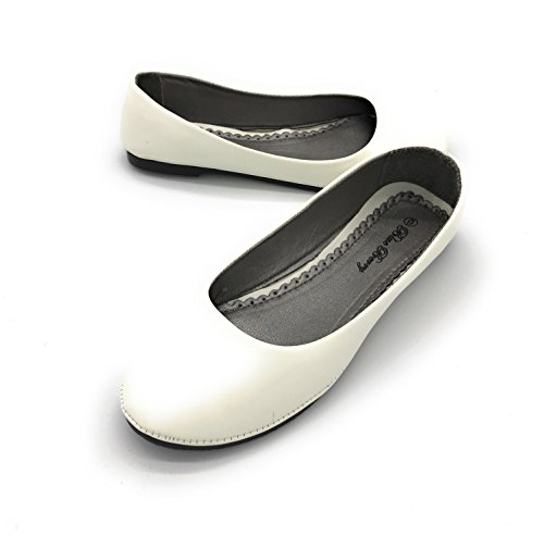 Blue Berry EASY21 Women's Casual Flats Ballet Fashion Shoes Faux Leather (8 B(M) US, White-S18)