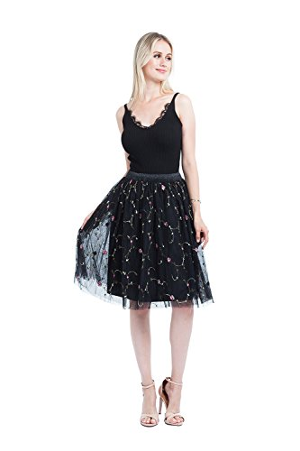 (kephy High Waisted Floral Flare Pleated Skirt Embroidered A Line Knee Length Mini Chiffon Skirt)