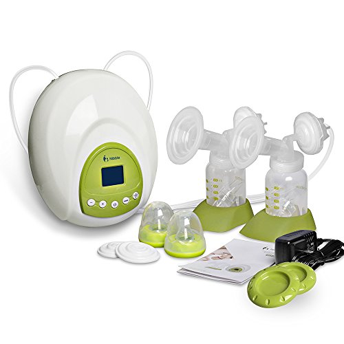 Nibble Comfort Double Electric Breast Pump with Accessories 10 Levels Suction Adjustable Independent Dual Control BPA-Free