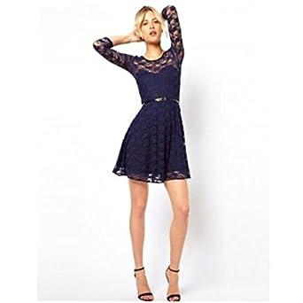 33667c8b64c1 Ex ASOS Lace Skater Dress Black Navy Blue Teal Belted 3/4 Sleeve Size 4-18  NEW[Navy,UK 10]: Amazon.co.uk: Clothing