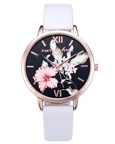 8d1c01370e JSDDE Damen Armbanduhr Analog Quarz mit Leder Armband Vintage Klassische  Blumen Basel-Stil Weiß