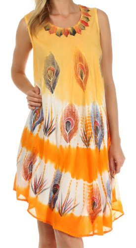 Sakkas 201RC Peacock Feather Caftan Dress / Cover Up - Orange - One Size