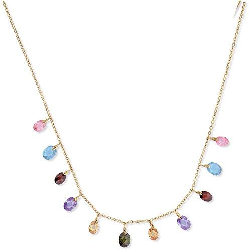 SF Bijoux - Collier plaqué or 5 couleurs (rose, bleu, rouge, violet, ambré) (42 cm) - (301879-45)