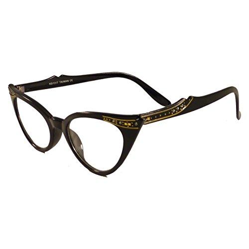 VINTAGE Women Sexy Cat Eye Rhinestone Frame Clear Lens Eye Glasses - Frames Vintage Rhinestone Eyeglass