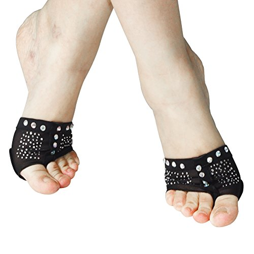 [MiDee Rhinestones Toes Thong Half Sole Dance Shoes Lyrical Dancing Feet Paw Pad (L, Black)] (Lyrical Costumes Solo)