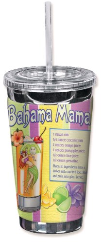 Mugzie brand 16-Ounce To Go Tumbler with Insulated Wetsuit Cover - Striped Bahama Mama