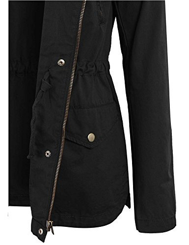 Kogmo Womens Zip Up Military Anorak Safari Jacket with Hoodie-S-BLACK