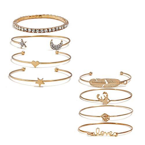 8Pcs Gold Cuff Bangles Bracelet Set, Love Knot Stackable Open Cuff Bangle Cubic Zirconia Bracelet for Women Men Girls