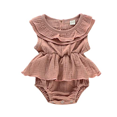 RUIVE Newborn Bodysuit Ruffle Infant Baby Girl Sleeveless Solid Romper Summer Patchwork Jumpsuit One Piece Clothes Outfits Brown]()