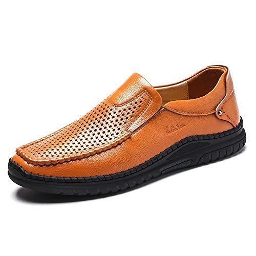 Marrón Ocasionales tamaño Vestir Claro Hombre Color 5 para Claro UK Negocios Zapatos HhGold Hombres 8 de marrón para 5 Cuero Respirables US Zapatos de con 9 Huecos de Cordones fpwnRqC7