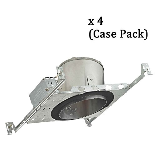 (6-Inch New Construction E26 Recessed Can Light IC & Airtight Slope Ceiling Case Pack of 4)