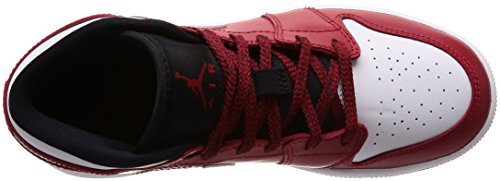 Youth Black Red Mid BG 1 White Cuir Gym Jordan Nike Formateurs 5q8vxpv