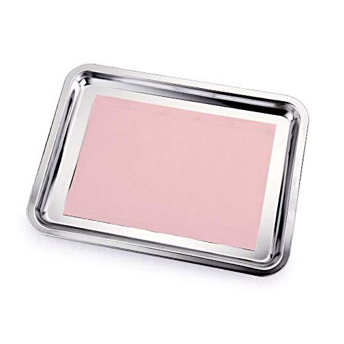 (Plate soup plate dish tray, stainless steel thickened tray square leak hole design kitchen tools (Size : B))