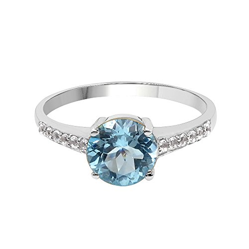 Blue Topaz Purple Ring - 1.42 Carat Genuine Blue Topaz & White Topaz Sterling Silver Ring