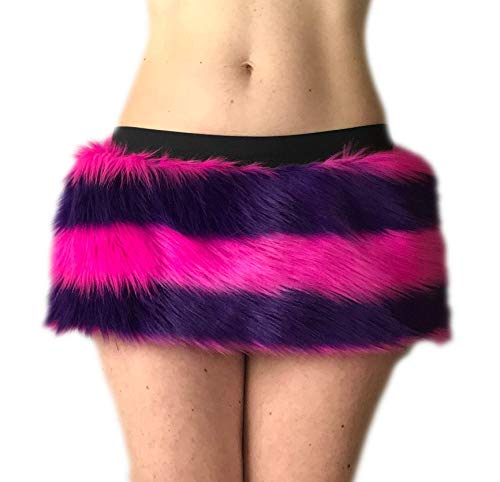Cheshire Cat Costume Skirt, Many sizes for Kids and Adults, Soft Faux Fur Rave Dress Up Outfit, Fluffies, Handmade, Halloween Costume Mini-Skirt Micro-Skirt