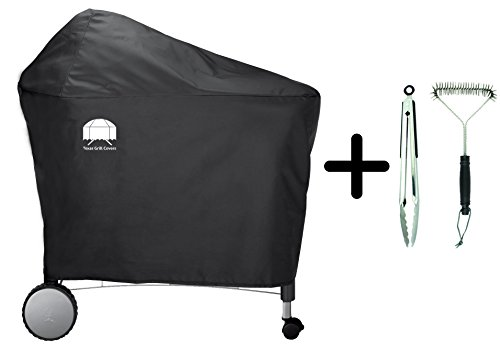 Texas Grill Covers 7455 | 7152 Premium Cover for Weber Performer Deluxe Charcoal Grill, 22-Inch Including Brush and Tongs (Deluxe Barbeque Grill Cover)