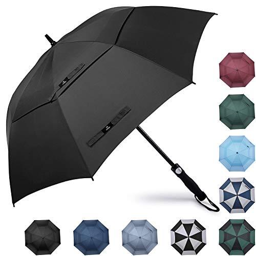 Prospo Golf Umbrella 62 inch Large Auto-Open Windproof Oversized Stick Vented Umbrellas Black