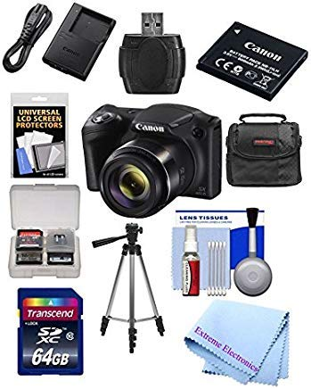 Canon Powershot SX420 IS 20 MP Wi-Fi Digital Camera with 42x Zoom (Black) Includes: Canon NB-11LH Battery & Canon Charger + 9pc 32GB Deluxe Accessory Kit w/ Extreme Electronics Cloth