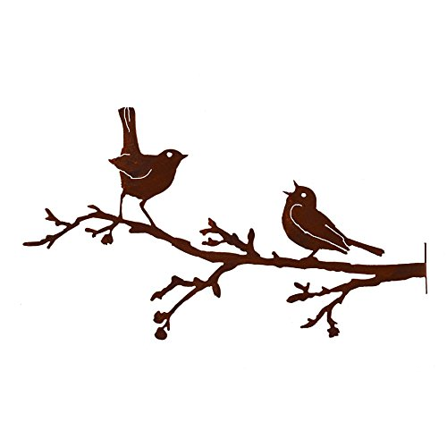 Elegant Garden Design Warbler and Robin on Branch, Steel Silhouette with Rusty Patina