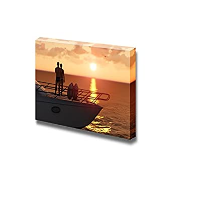 Canvas Prints Wall Art - Romantic Couple on a Pleasure Boat | Modern Wall Decor/Home Decoration Stretched Gallery Canvas Wrap Giclee Print & Ready to Hang - 16