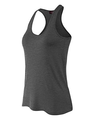 MBJ WT924 Womens Relaxed Racer Tank Top XL - Charcoal Deep Heather