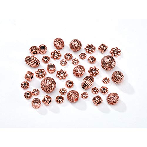 Crafts Metal Spacer Beads Cast Assorted Copper (6-Pack) 1999-666 ()