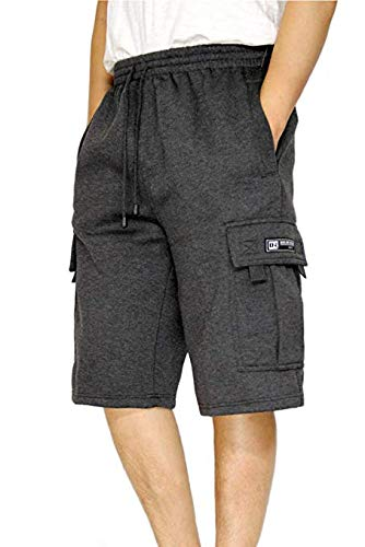 DREAM USA Men's Heavyweight Fleece Cargo Shorts, Black, Medium