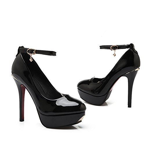 De Señoras 1to9 Banquete High Hebilla heels Goma Negro shoes Pumps IXqrqdBwyx