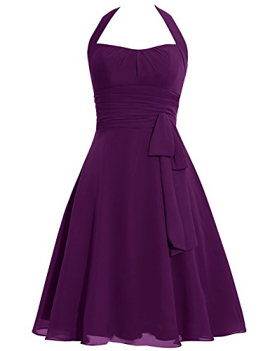 Dress Dresses Chiffon Prom Bowknot Evening Gowns Halter Cdress Bridesmaid Short Grape Formal qItwxK0Rp