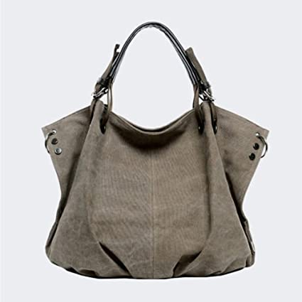 02a7cce737 Image Unavailable. Image not available for. Color  Coffee Women Bag Canvas  Fashion Hobo ...