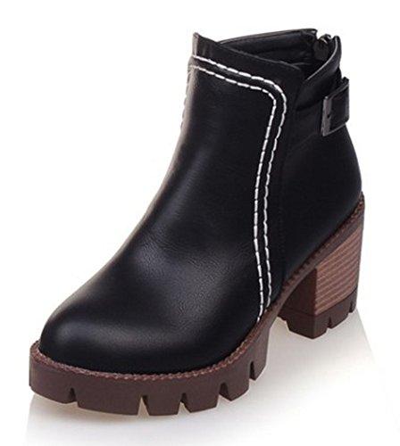 (SFNLD Women's Trendy Round Toe Lug Sole Stitches Back Zip Stacked Heel Martin Boots Black 4.5 B(M) US)