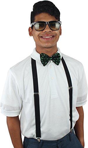 Enimay Unisex Halloween Nerd Geek Costume Adjustable Suspender Bowtie Glasses Black | Leaf | Gradient One - Bow Glasses With Geek