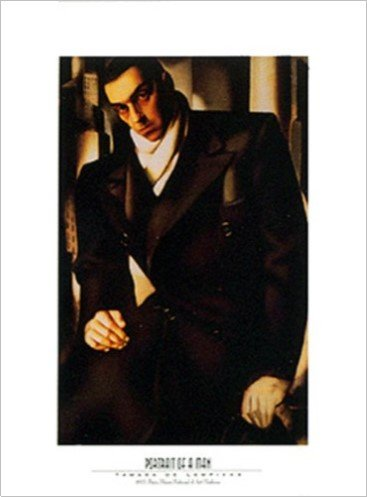 (Buyartforless Portrait of a Man by Tamara De Lempicka 24x32 Art Print Poster Abstract Figurative Man with a Serious Face Classy Winter Clothing)