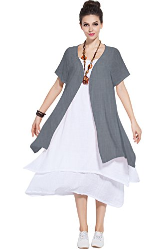 (Anysize Soft Linen Cotton Two-Piece Dress Spring Summer Plus Size Dress Y96)
