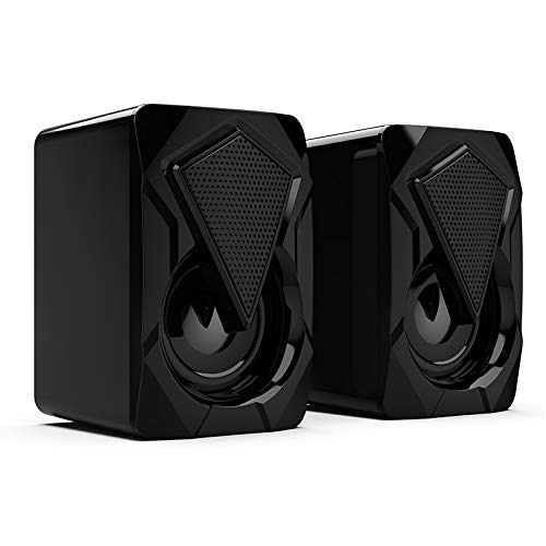 USB Wired Computer RGB Speakers,Dual-Channel Multimedia RGB Speakers,Mini Portable RGB Gaming Speaker 3.5mm for PC Desktop Laptop Tablet Smartphones
