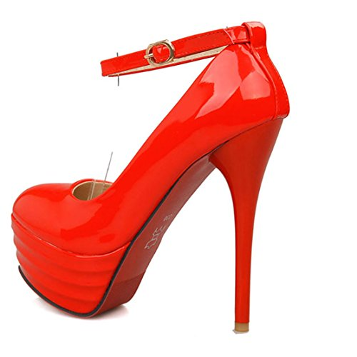 AIYOUMEI Women's Shoes Strap Red with Buckle Stiletto Platform High Pumps Heel Ankle 47Awq4