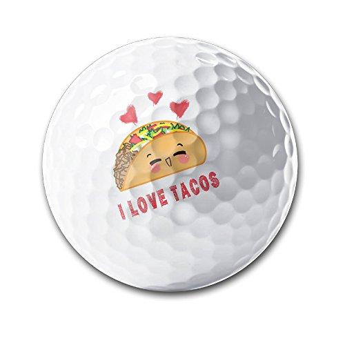 Taco Mexican I Love Tacos White Elastic Golf Balls Practice Golf Balls Golf Training Aid Balls by OYten