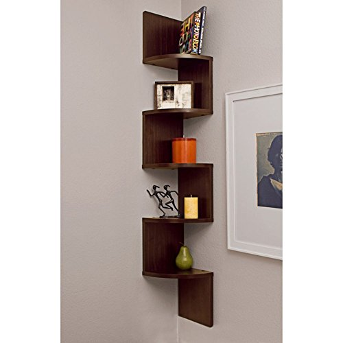 Danya B. Large Corner Wall Mount Shelf   Walnut