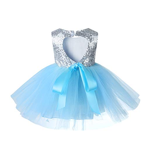 Sleeveless Princess Ruffle Summer Sequin Girl Dress Formal Bridesmaid Christmas Easter Evening Prom Dresses for Girls Tutu Tulle Baby Dress 2 3T lightblue -