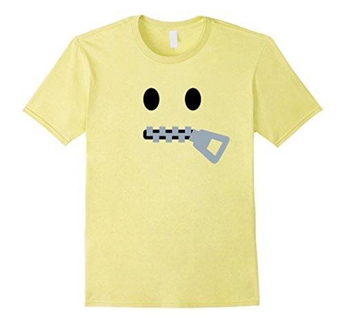 Zipper Face Halloween Costumes (Mens Zipper Mouth Face Emoji Halloween Costume T-Shirt XL Lemon)